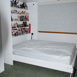 Finished murphy bed with knick-knacks